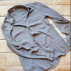 Grey/Gray Express Slim Fit Portofino Shirt